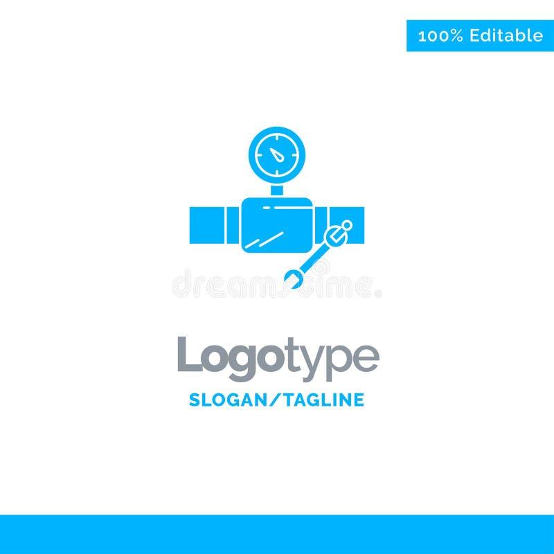 Rör byggnad, konstruktion, reparation, Gage Blue Solid Logo Template St?lle f?r Tagline vektor illustrationer