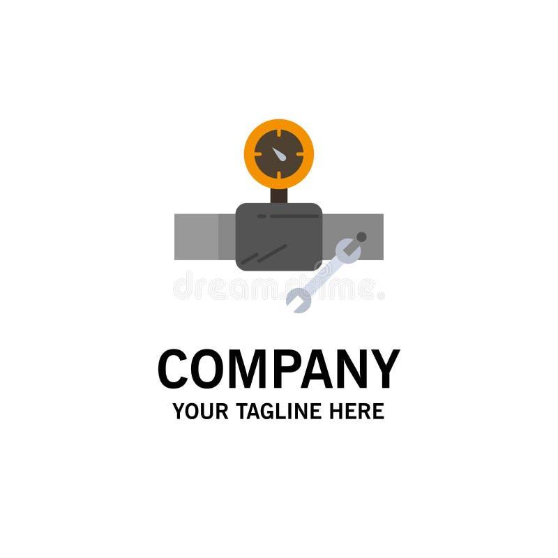 Rör byggnad, konstruktion, reparation, Gage Business Logo Template plan f?rg royaltyfri illustrationer