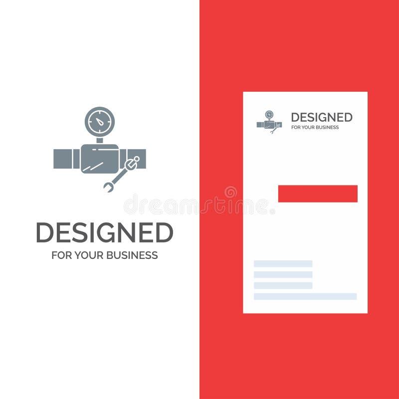 Rör, byggnad, konstruktion, reparation, Gage Grey Logo Design och mall för affärskort stock illustrationer