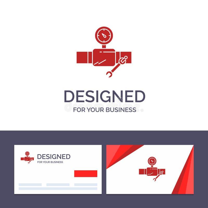 Rör för idérik mall för affärskort och logo, byggnad, konstruktion, reparation, Gage Vector Illustration royaltyfri illustrationer