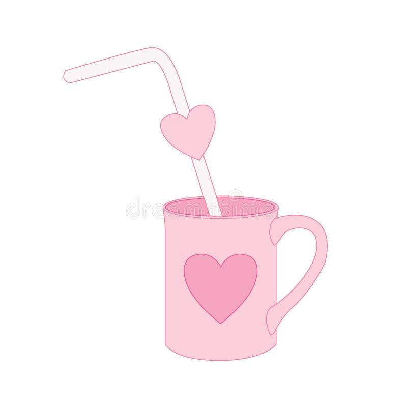 Rör i hjärtakoppen på rosa bakgrundsillustrationvektor royaltyfri illustrationer