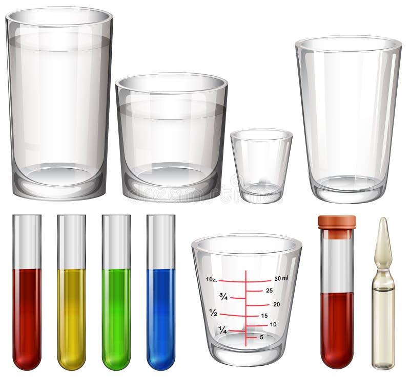 Rör och exponeringsglas stock illustrationer
