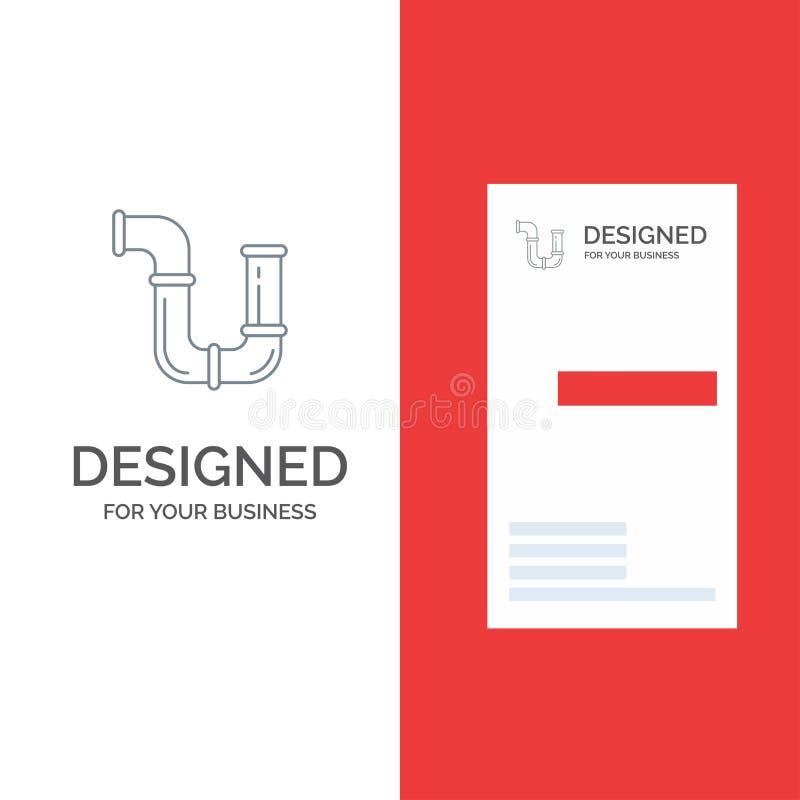 Rör, rörmokare, reparation, hjälpmedel, vatten Grey Logo Design och mall för affärskort royaltyfri illustrationer