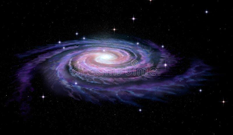 Röra sig i spiral den Milky galaxen långt royaltyfri fotografi