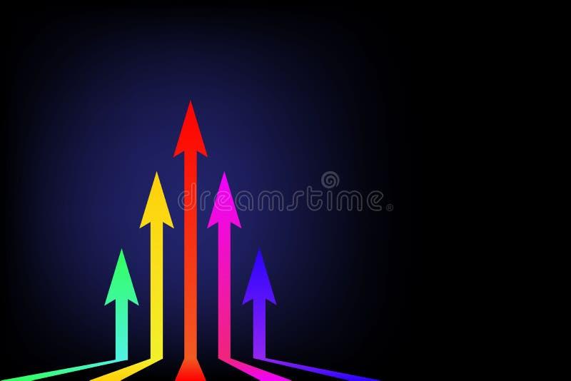 Rörande övre färgrika pilar på den svarta pilen för bakgrundsledareaffärsidé som stiger upp med utrymme för fri kopia för din tex vektor illustrationer
