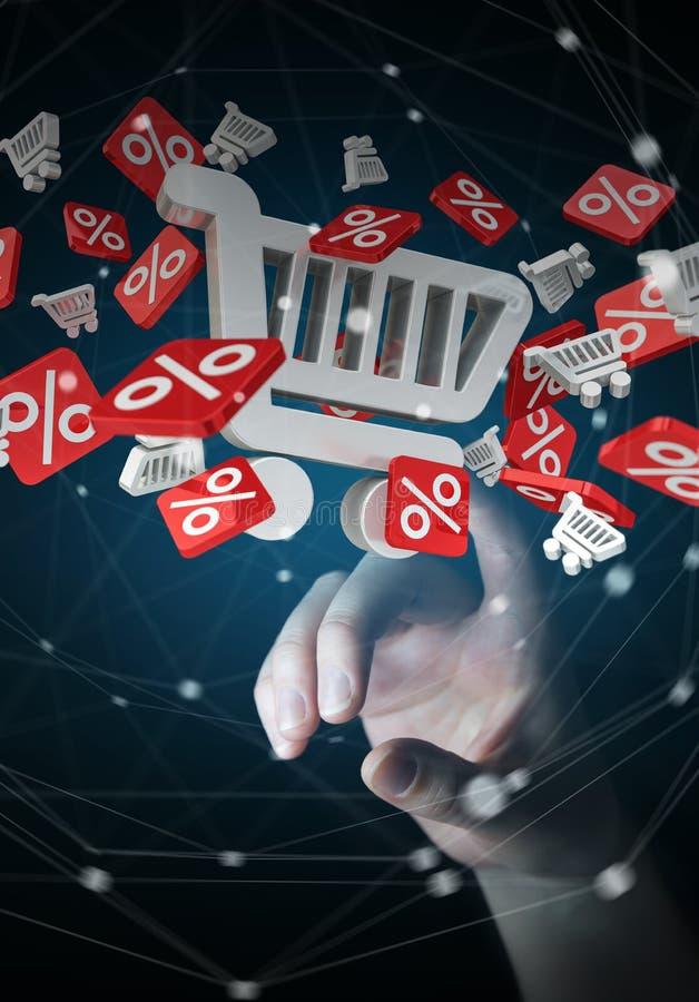 Rörande försäljningssymboler för affärskvinna med henne tolkning för finger 3D stock illustrationer