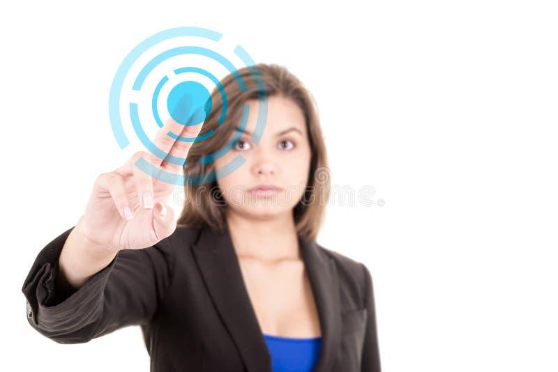Rörande faktisk skärm för affärskvinna arkivfoto