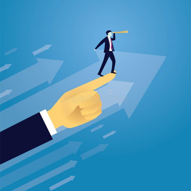 Rörande framåtriktat begrepp för affärsframgång stock illustrationer