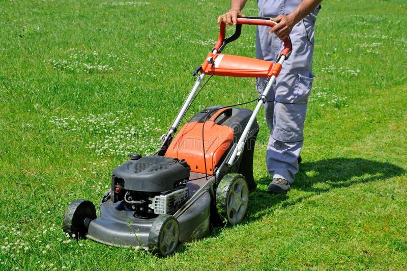 Rörande gräsmatta för arbetare på ängen royaltyfri foto