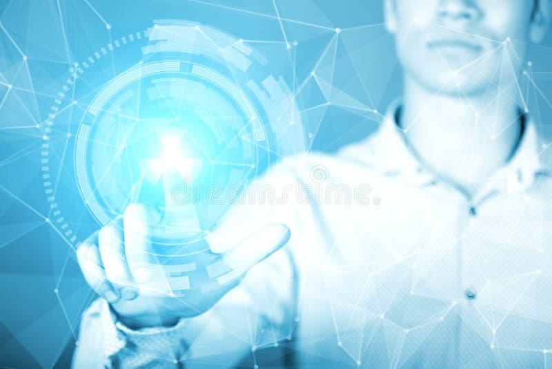 Rörande hologram för ung affärsman av den faktiska manöverenheten royaltyfria foton