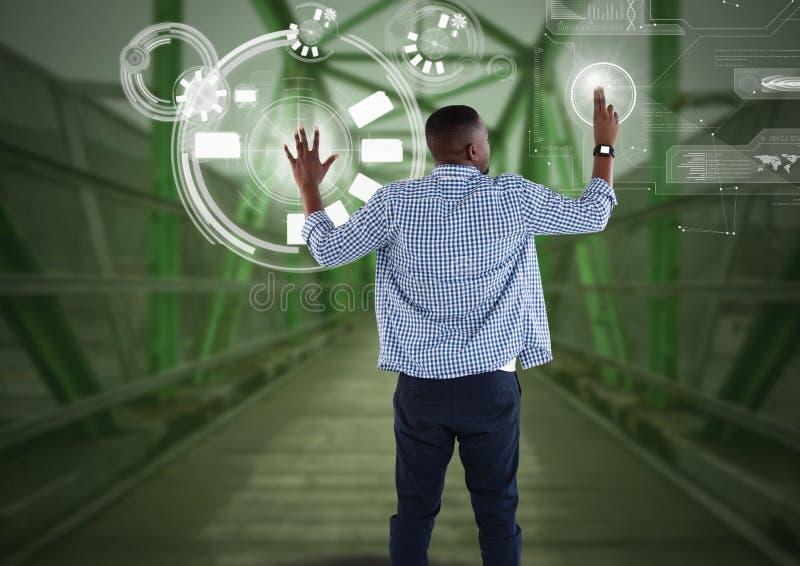 Rörande manöverenhet för affärsman på den gröna bron vektor illustrationer