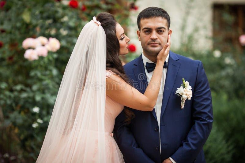 Rörande stilig brudgum för sinnlig romantisk brud på hans kindintelligens royaltyfria bilder