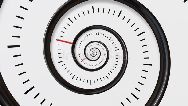 Rörande tidspiral För zoomrörelse för spiral klocka sömlös oändlig bakgrund Tid abstrakt begrepp Oändlighetsklocka stock illustrationer