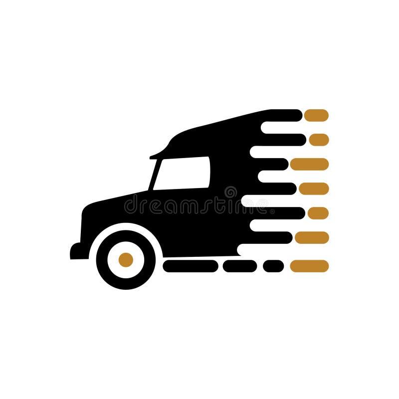 Rörande vektor för lastbilhastighetslogo stock illustrationer