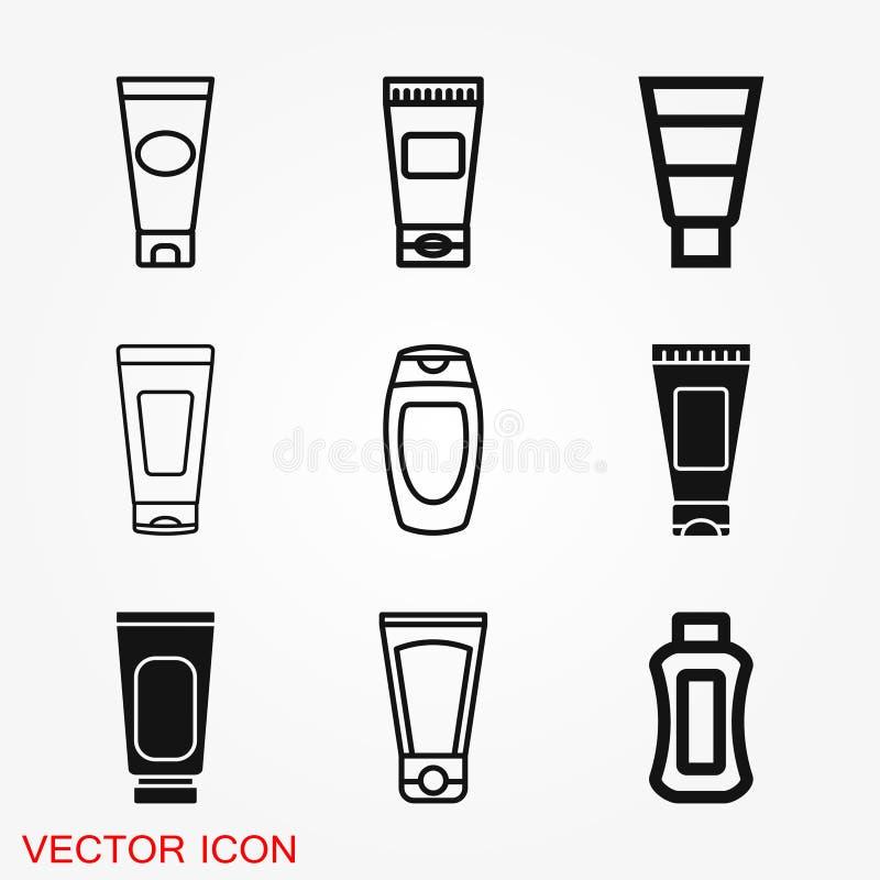 Rörbehållare för det kräm- symbolet för symbolsvektortecken för design royaltyfri illustrationer