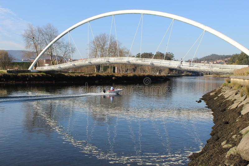 Rörbro i Pontevedra arkivbild