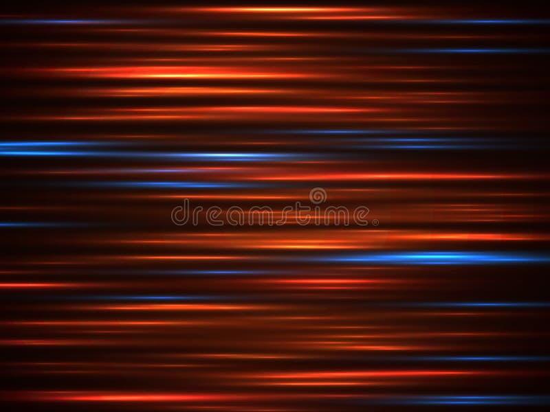 Rörelse för hastighetsbilljus fodrar på mörk bakgrundsvektorillustration royaltyfri illustrationer
