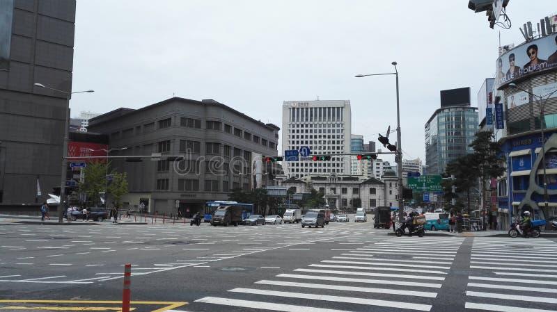 Rörelse för upptagen gata i Seoul royaltyfri bild