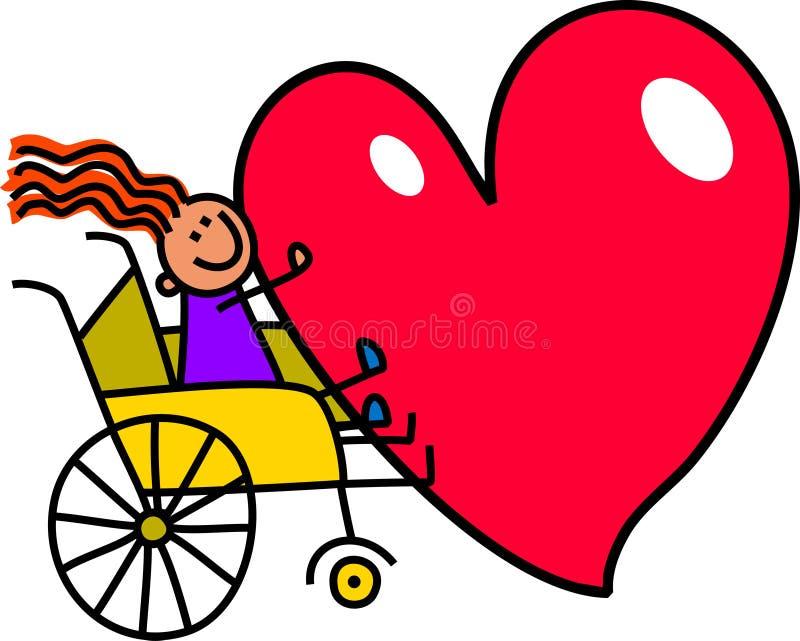 Rörelsehindrad flicka med stor hjärta vektor illustrationer