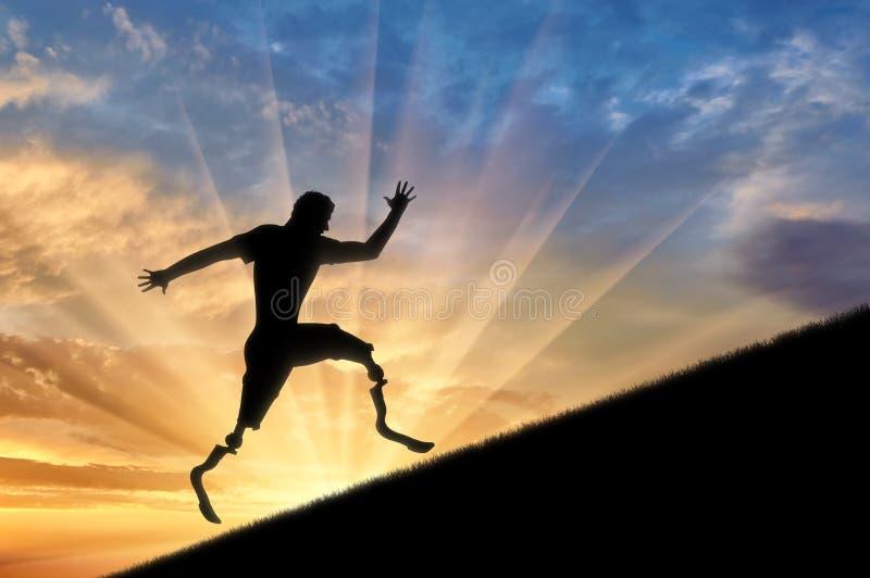 Rörelsehindrad idrottsman nen med prosthetic ben som upp klättrar solnedgång vektor illustrationer