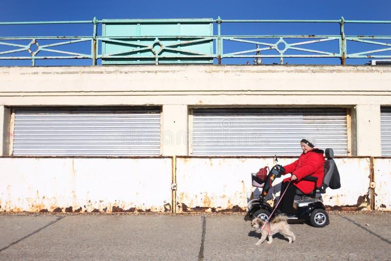 Rörelsehindrad kvinna i elektrisk hjulstol royaltyfri bild