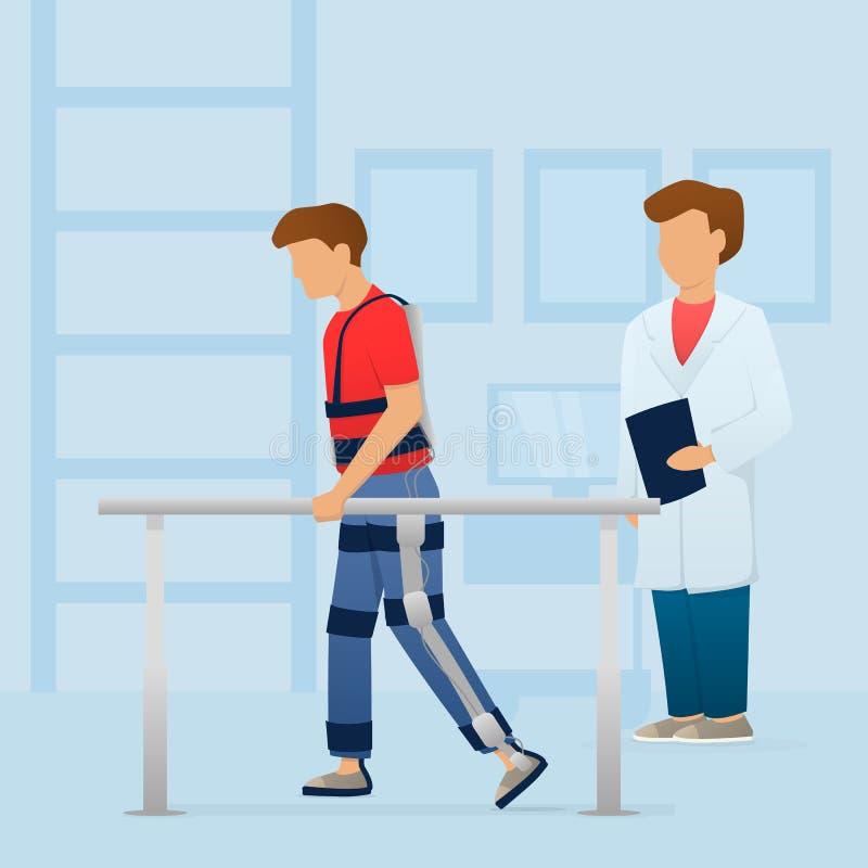 Rörelsehindrad man som går med den medicinska exoskelettet nära doktorn rehabilitering vektor stock illustrationer