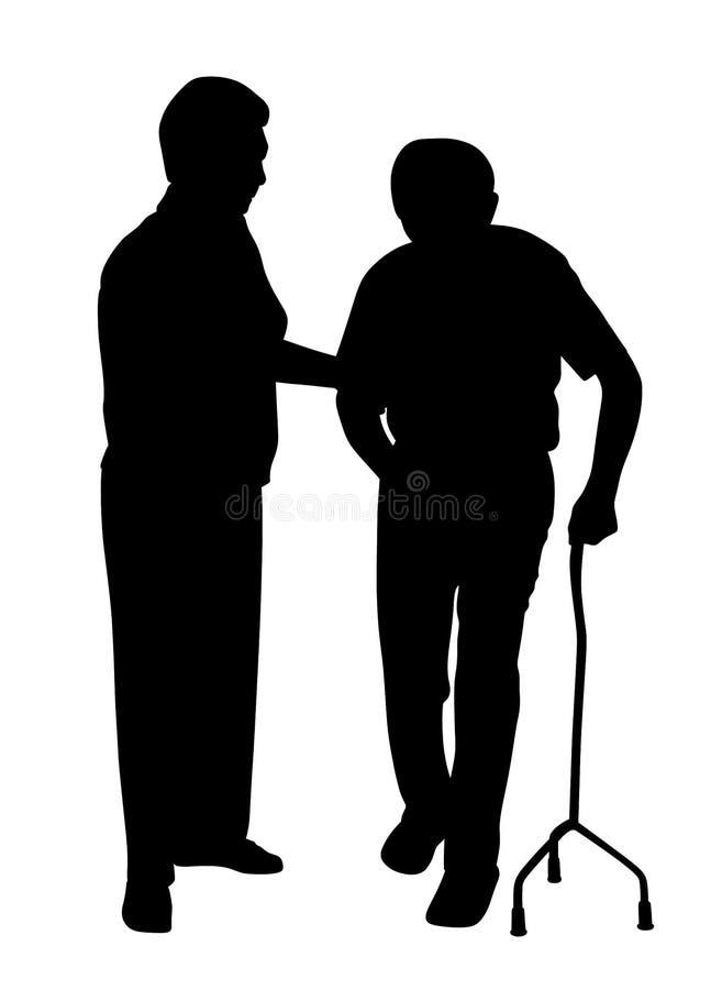 Rörelsehindrad man som går med kvinnan royaltyfri illustrationer