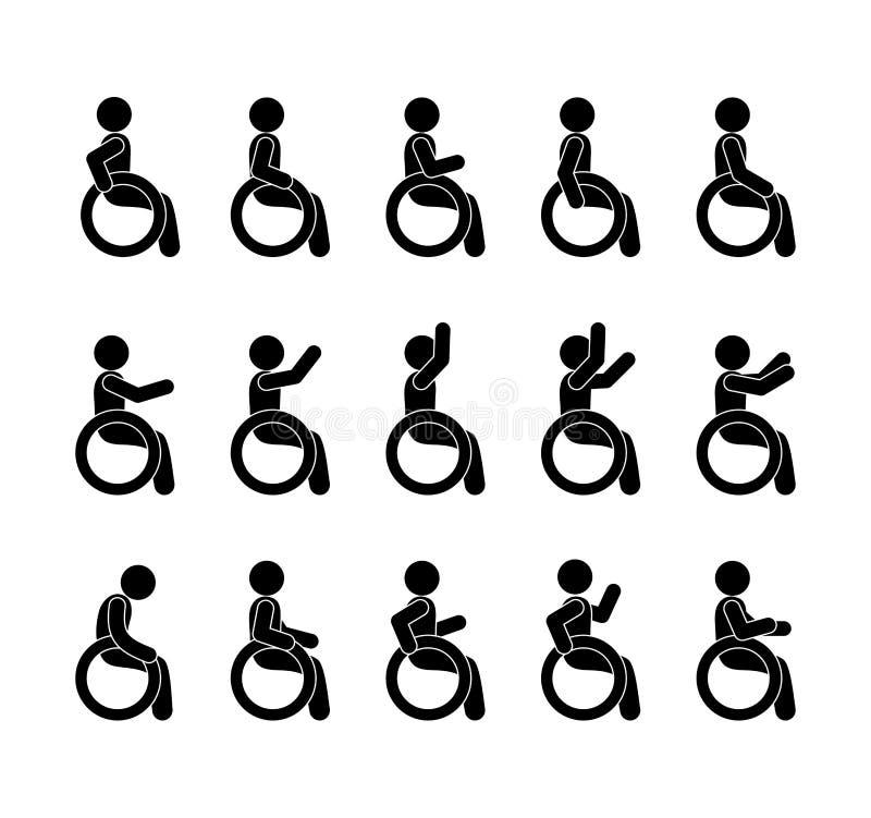 Rörelsehindrad och handikappad uppsättning med folk i rullstolar vektor illustrationer