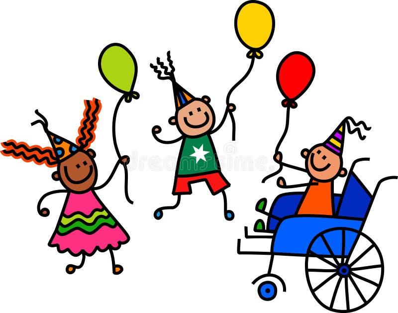 Rörelsehindrad pojke för födelsedagparti vektor illustrationer