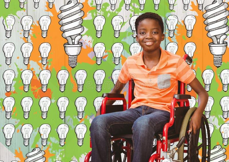 Rörelsehindrad pojke i rullstol med ljusa kulor och målarfärgteckningar arkivfoto