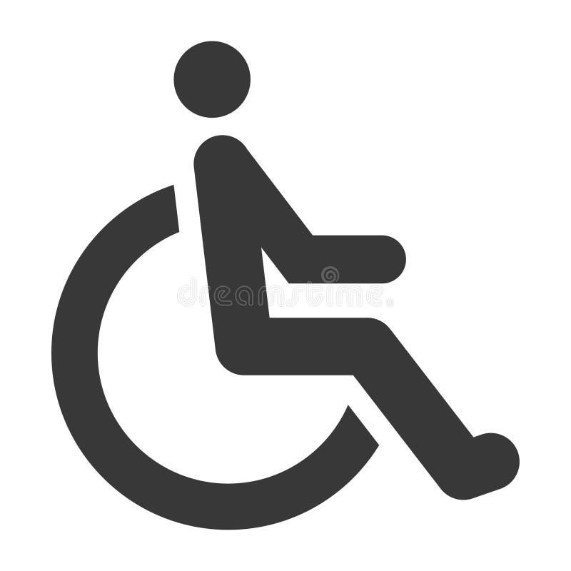 Rörelsehindrad svart symbol, special rehabilitering och vård- symbol royaltyfri illustrationer