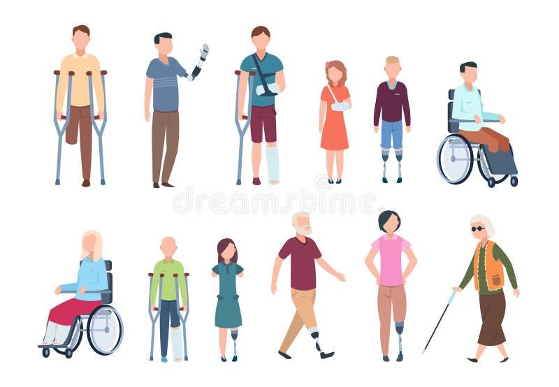 Rörelsehindrade personer Olik sårat folk i rullstol, äldre, vuxen människa och barnpatienter Handikappad teckenuppsättning stock illustrationer