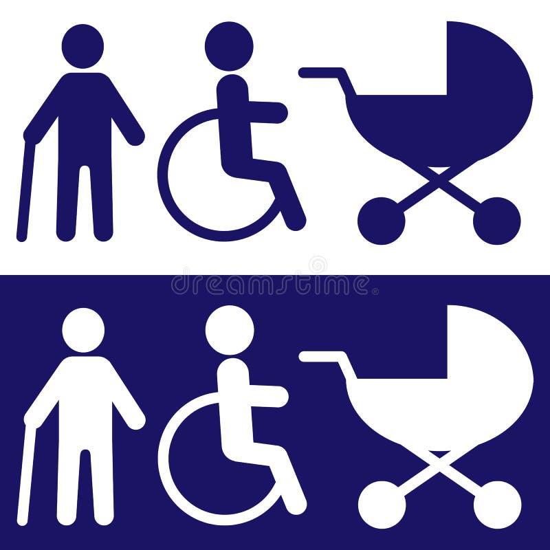 Rörelsehindrade symboler för design vektor Vitt i blå begraund stock illustrationer