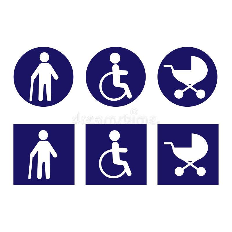 Rörelsehindrade symboler för design vektor Vitt i blå begraund royaltyfri illustrationer