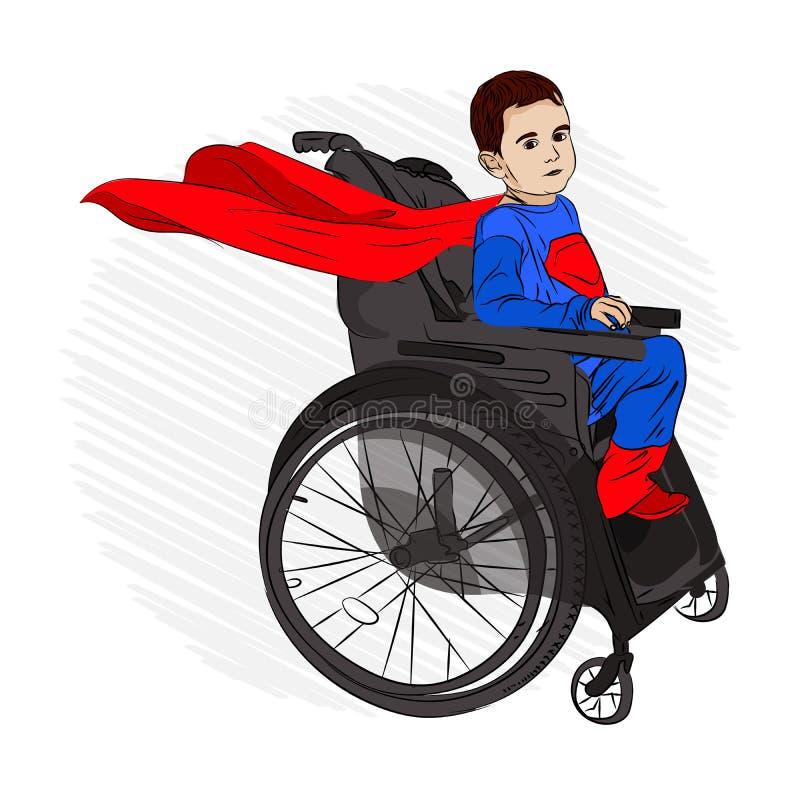 Rörelsehindrat barn i en rullstol önskar till royaltyfri illustrationer
