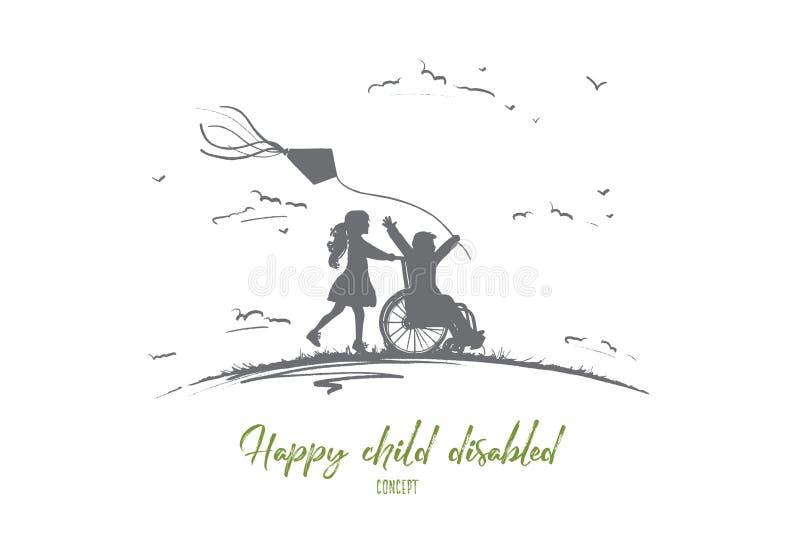 Rörelsehindrat begrepp för lyckligt barn Hand dragen isolerad vektor royaltyfri illustrationer