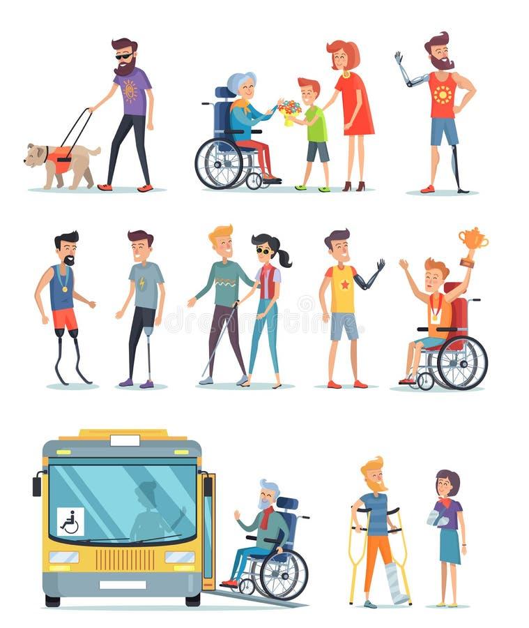 Rörelsehindrat folk och hjälp för dem vit affisch vektor illustrationer