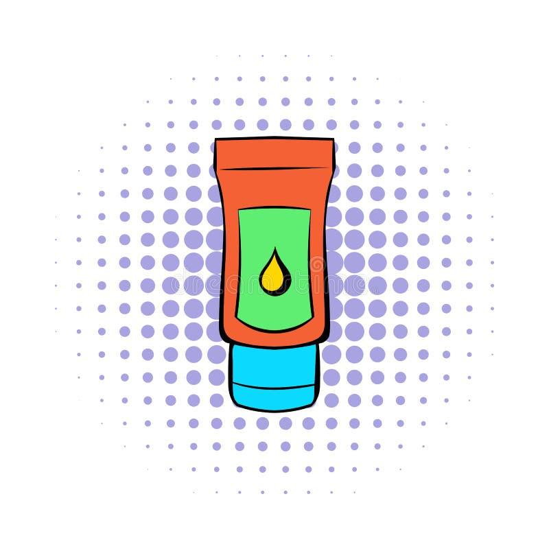 Röret av smörjmedlet stelnar symbolen, komiker utformar royaltyfri illustrationer