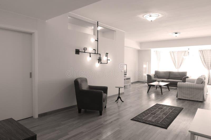 Rörlampa i livingroom fotografering för bildbyråer