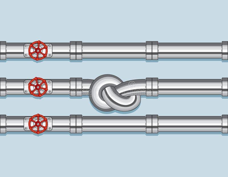 Rörledning med tre rör och en som binds i en fnuren royaltyfri illustrationer