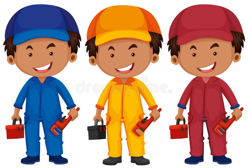 Download Rörmokare I Olik Färglikformig Vektor Illustrationer - Illustration av toolbox, rörmokare: 78731340