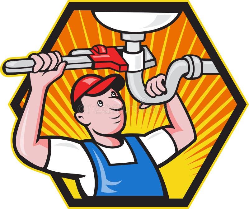 Rörmokarearbetare med den justerbara skiftnyckeln stock illustrationer