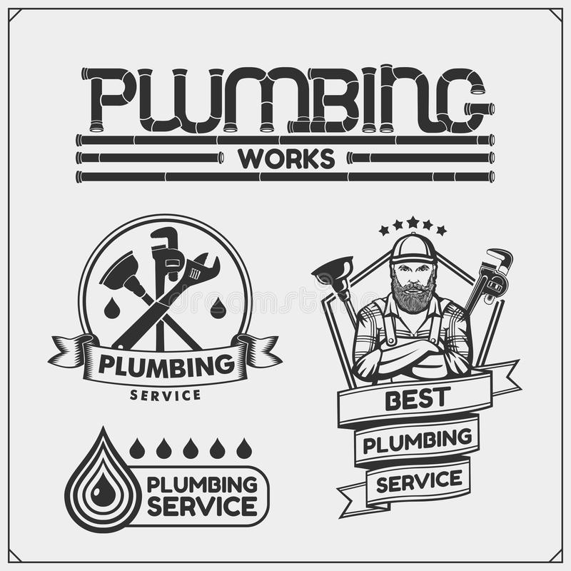 Rörmokeri och hem- renoveringserviceemblem med arbetehjälpmedel Logoer mall och designbeståndsdelar royaltyfri illustrationer