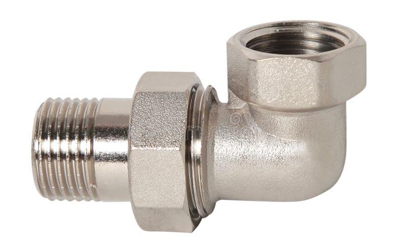 Rörmokerimontering och bollventil för vattenförsörjningsystem som isoleras på vit bakgrund royaltyfria foton