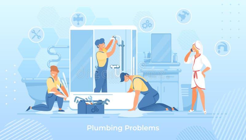 Rörmokeriproblem, rörmokare som fixar duschen i bad vektor illustrationer