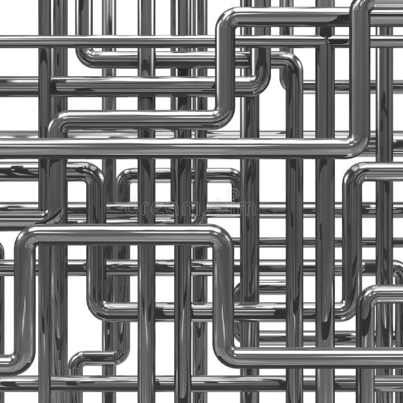 rörordning för stål 3d royaltyfri illustrationer