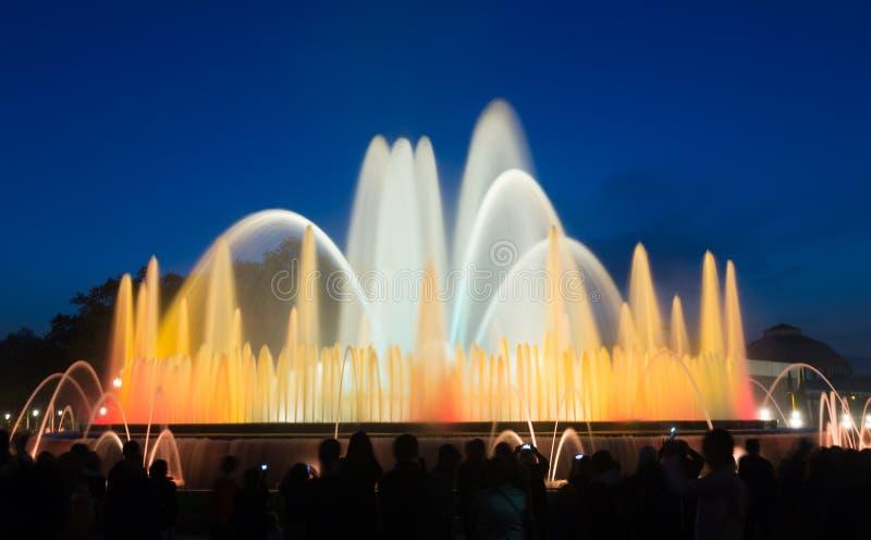 Röst- Montjuic springbrunn i Barcelona spain royaltyfria bilder