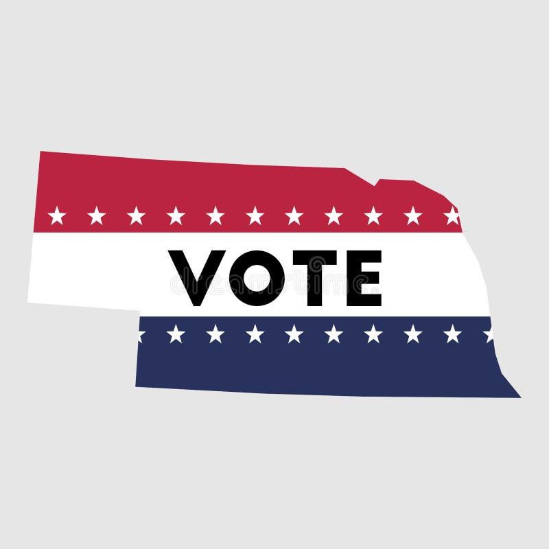 Rösta översikten för den Nebraska statöversikten stock illustrationer