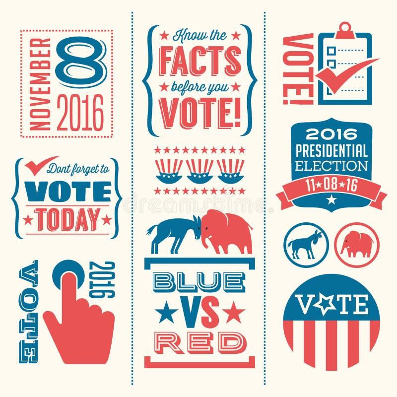 Rösta designbeståndsdelar för valet 2016 royaltyfri illustrationer