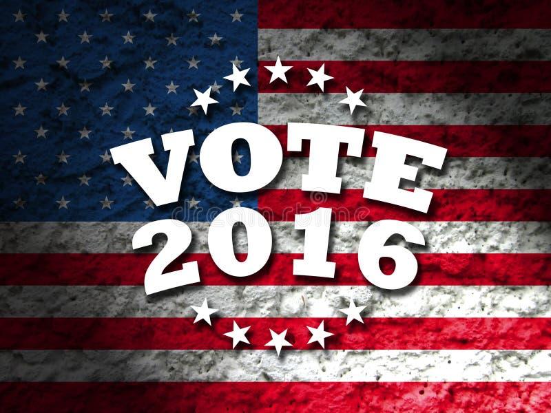 Rösta designen för presidentvalet USA, rösta tecken 2016 med amerikanska flaggan royaltyfri foto